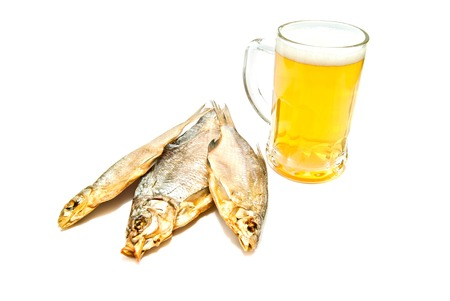 salted fish and beer on white background Stock Photo