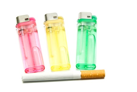 encendedores: one cigarette and three lighters on white background