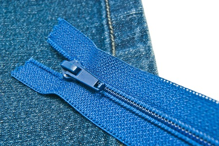 blue denim: blue denim with zipper on white background