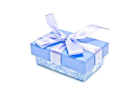 blue gift box: single blue gift box on white background