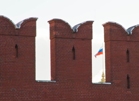 state of mood: flag of Russian Federation for the Kremlin wall Stock Photo