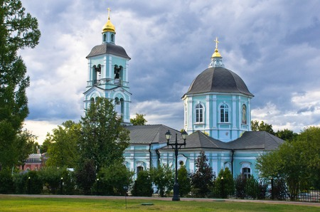 grates: old Christianity church in the summer Moscow park Stock Photo