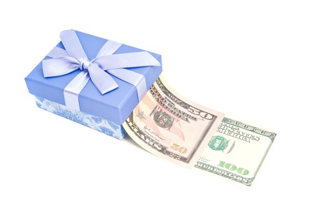 blue gift box: blue gift box and money closeup on white background Stock Photo