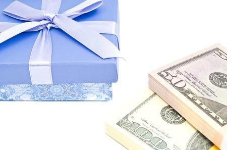 blue gift box: blue gift box and money on white background Stock Photo