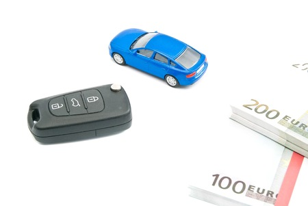 afford: car keys, blue car and euro notes on white