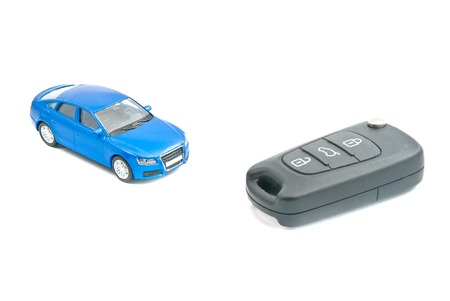 afford: car keys and blue car on white background
