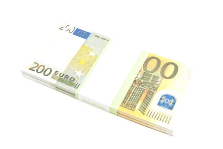 pack of two hundred euro notes on white