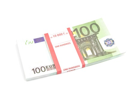 pack of one hundred euro banknotes on white