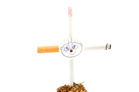cross of cigarettes with children portrait on white background Stock Photo