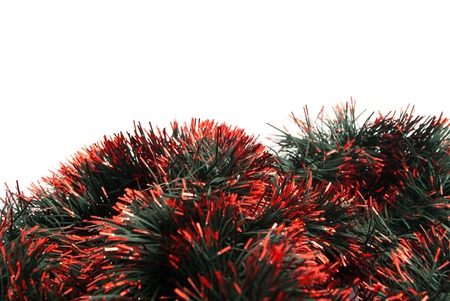 the tinsel: beautiful, multi colored Christmas tinsel on white