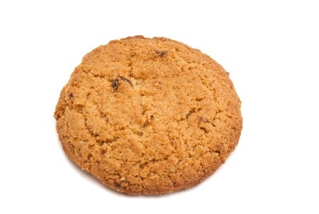 oatmeal cookie: single fresh oatmeal cookie on white background Stock Photo