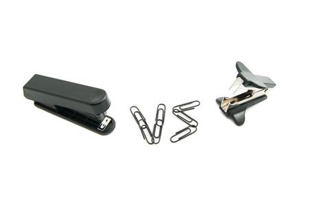 staple: stapler and staple remover on white background closeup Stock Photo