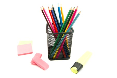 erasers: different pencils, erasers and sticker on white