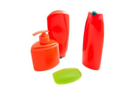 moisturiser: shampoo, gel and soap on white background
