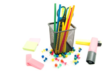 erasers: erasers and other office stationery on white