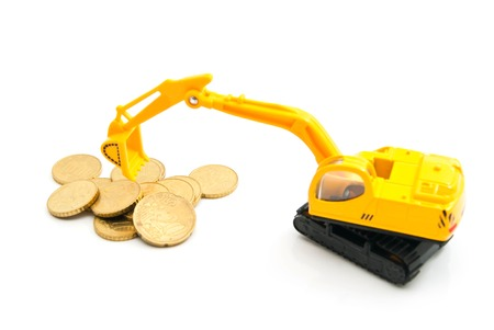 afford: euro coins and yellow backhoe on white
