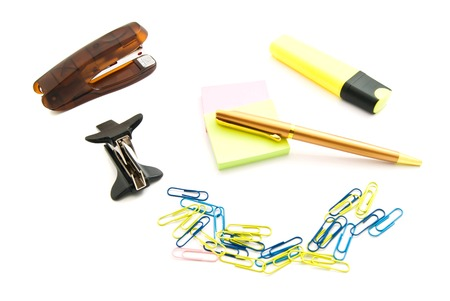 paper clips: stickers, pen, paper clips and marker on white background Stock Photo