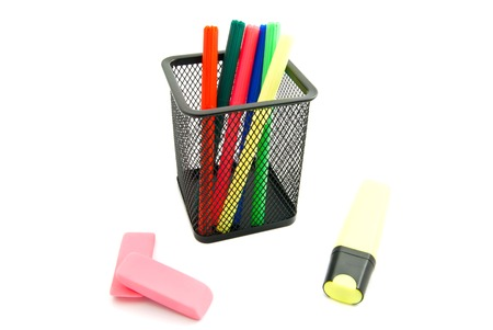 erasers: colorful markers and erasers on white background