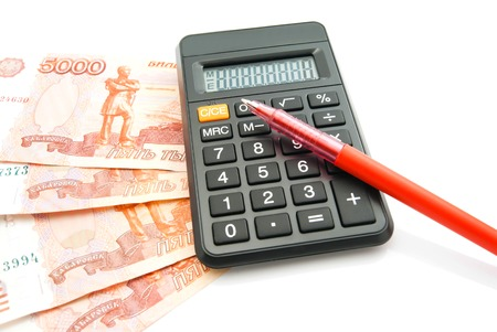 red pen: banknotes, red pen and calculator on white background Stock Photo