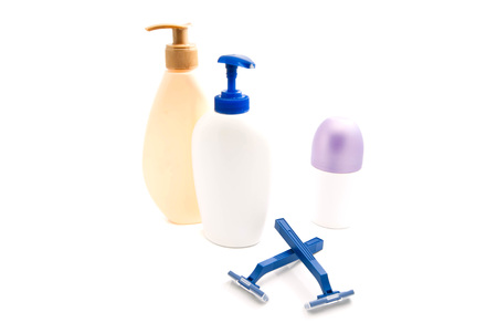 shower gel: shower gel, blue razors and deodorant on white Stock Photo
