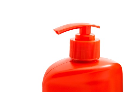 shower gel: red bottle with shower gel on white background