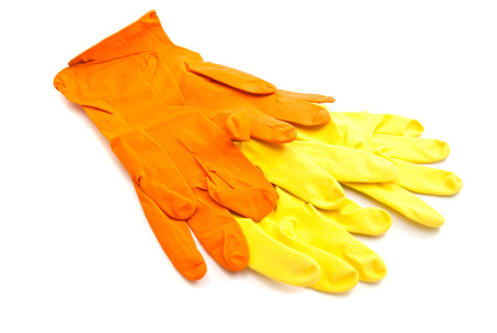 latex gloves: two pairs of latex gloves on white closeup