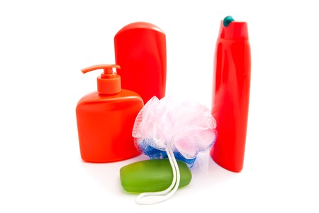 shower gel: shampoo, shower gel and soap on white background Stock Photo