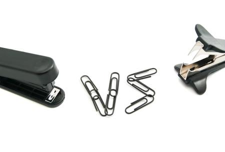 staple: staple remover and black stapler on white background Stock Photo