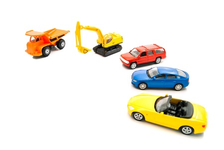 auto leasing: orange truck, backhoe and other cars on white Stock Photo