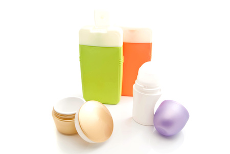 toiletry: deodorant, shampoo and other toiletry on white background