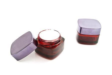 moisturiser: two jars of cream on white background Stock Photo