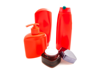 moisturiser: shampoo, shower gel and cream on white Stock Photo