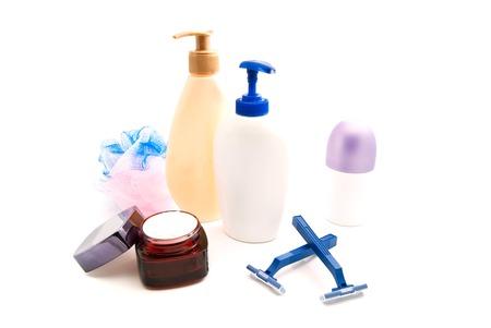 wisp: shower gel, cream, razors and wisp on white closeup Stock Photo