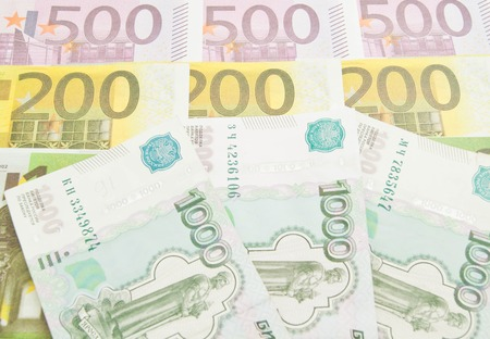 rubles: rubles thousand banknotes and different Euro banknotes