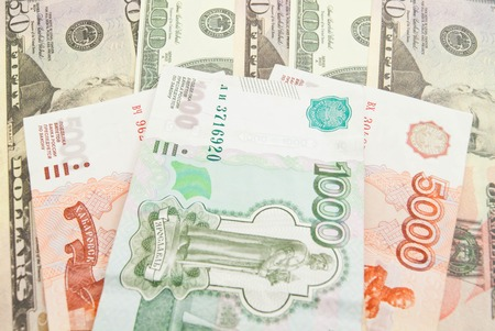 rubles: different dollars notes and thousand rubles banknotes