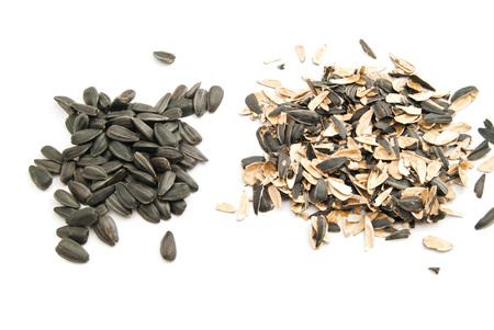 semillas de girasol: semillas de girasol y la cáscara en blanco