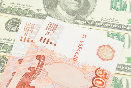 rubles: one hundred dollars and five thousand rubles banknotes Stock Photo