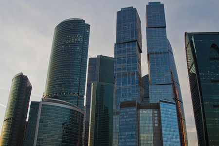 different Moscow skyscrapers in the summer evening
