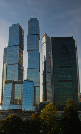 beautiful view of modern business center in the evening