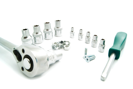 ratchet: Ratchet, the various heads and bolts on white background