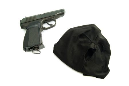 municipal court: black mask and gun on white background