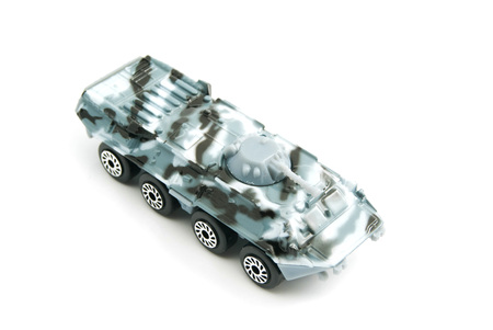 armored: armored vehicle in camouflage color on white Stock Photo