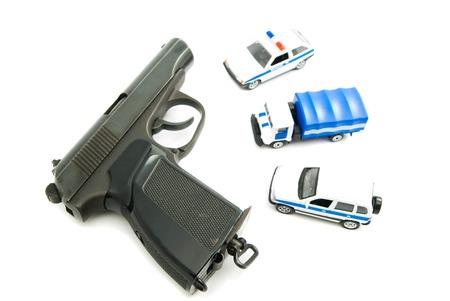 speed gun: Gun and police cars on white background Stock Photo