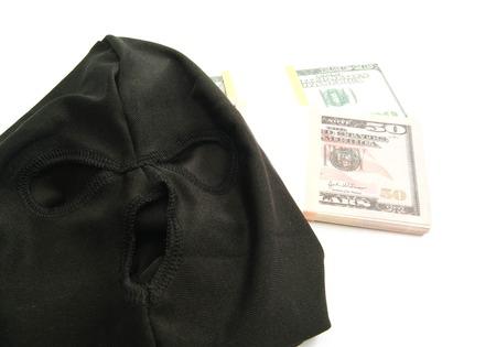 municipal court: mask and banknotes on white background closeup Stock Photo