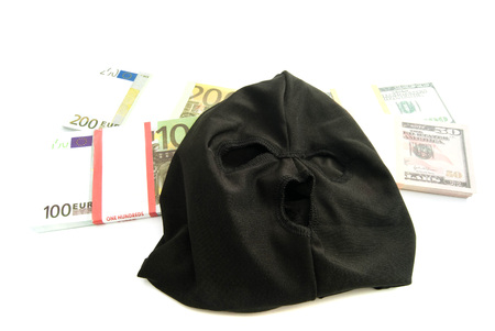 municipal court: mask and banknotes closeup on white background