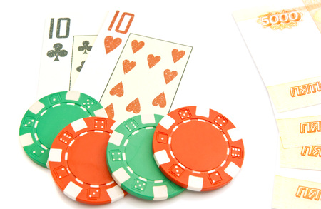 playing cards, rubles and chips on white background Stock Photo