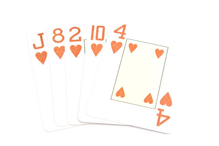 flash combination of playing cards on white