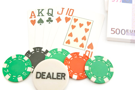jack of diamonds: euros and street combination of cards on white