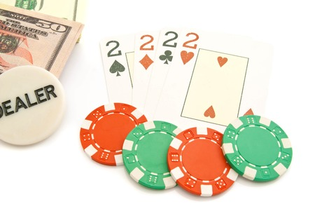 king and queen of hearts: four cards, dollars and chips on white background Stock Photo