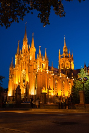 beautiful Gothic cathedral on a summer evening Stock Photo